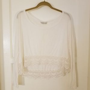 Abercrombie and Fitch White Lace Trim Long Sleeve
